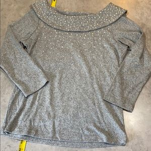 Jeweled cowl neck top